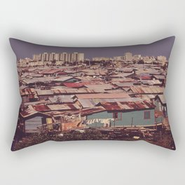 'MODERN BUILDINGS TOWER OVER THE SHANTIES CROWDED ALONG THE MARTIN PENA CANAL' Rectangular Pillow