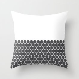 Hexagon Honeycomb Half Pattern (Charcoal Black) Throw Pillow