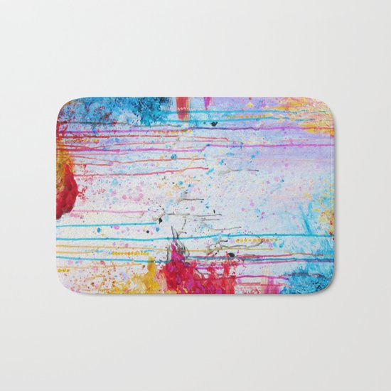 HAPPY TEARS Bright Cheerful Abstract Acrylic Painting, Drip Splat Bold Pink Red Purple Spring Art Bath Mat