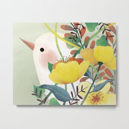 white bird and flowers Metal Print