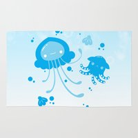 dumbo Area & Throw Rugs featuring Kawaii Pastellyfish Jellyfish and Dumbo Octopus by KawaiiMachine