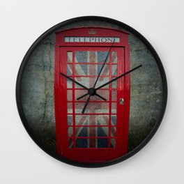 Call Me Red Telephone Box Wall Clock
