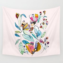 Flowers in the Wind Wall Tapestry