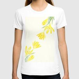 yellow botanical crocus watercolor T-shirt