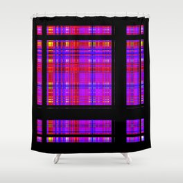 Unicorn Plaid Squares Shower Curtain