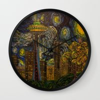 seahawks Wall Clocks featuring Dedication to Van Gogh: Seattle Starry Night by Jack Lepper