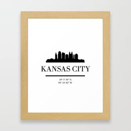 KANSAS CITY BLACK SILHOUETTE SKYLINE ART Framed Art Print