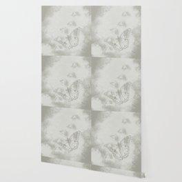 delicate butterflies and textured chevron pattern Wallpaper