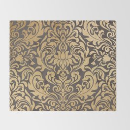 Gold swirls damask #9 Throw Blanket