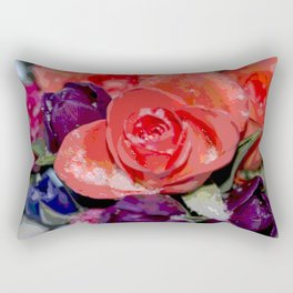 Snow settling on a top of Bouquet of flowers Rectangular Pillow