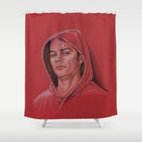 stiles stilinski Shower Curtains featuring Stiles in Red by Stormwolf Studios