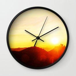 Scenic landscape and sundown Wall Clock