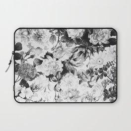 Black gray modern watercolor roses floral pattern Laptop Sleeve