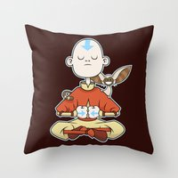 aang Throw Pillows featuring Aang & Momo by Matt Page
