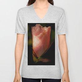 pale pink camellia Unisex V-Neck