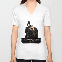 swan queen V-neck T-shirts featuring Swan Queen Team by Geek World