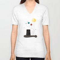 planet V-neck T-shirts featuring Planet by Jane Mathieu