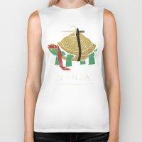 ninja turtle Biker Tanks featuring ninja - red by Louis Roskosch