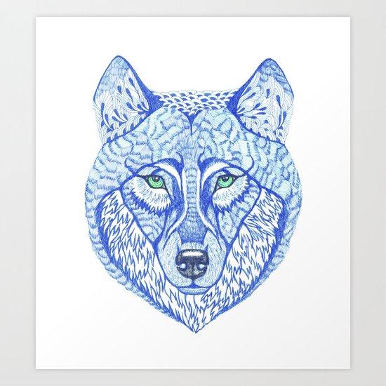 ice wolf Art Print