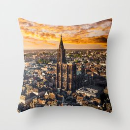 Majestic sunset at Strasbourg Cathedral Throw Pillow
