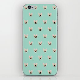 Fawn Frenchie Black Mask French Bulldog Print Pattern on Mint Green Background iPhone Skin