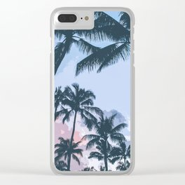 Tropical Palm Trees Silhouette Clear iPhone Case