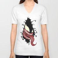 venom V-neck T-shirts featuring Venom by Juiceboxkiller