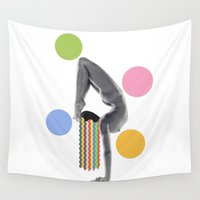 yoga Wall Tapestries featuring Yoga by Lerson