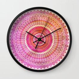Watercolor Mandala in warm pastel colors Wall Clock