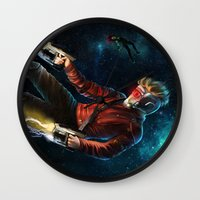 thanos Wall Clocks featuring Star Lord saves Gamora by Jaime Gervais