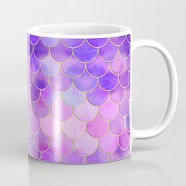 Ultra Violet & Gold Mermaid Scale Pattern Coffee Mug