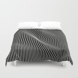 Minimal curves black Duvet Cover