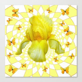 YELLOW BUTTERFLIES & YELLOW IRIS WHITE PATTERN ART Canvas Print