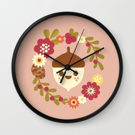 Acorn and Flowers / Blush Pink Wall Clock