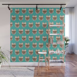 Pomeranian dog breed hipster glasses intellectual dog lover with personality Wall Mural
