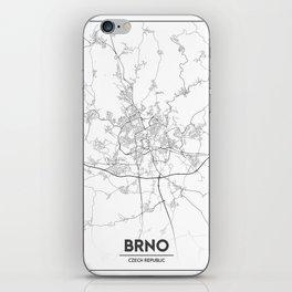 Minimal City Maps - Map Of Brno, Czech Republic. iPhone Skin