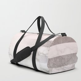 Rose Gold Pink Stripes and Marble Design Duffle Bag