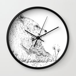 Mom and Baby Grizzly Bear Wall Clock