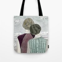planes Tote Bags featuring Paper Planes by Yuliya