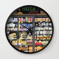 pasta Wall Clocks featuring Pasta Land by Teddy Kang's Art