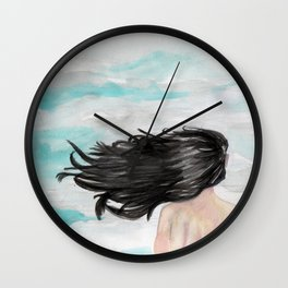 Wind in her hair Wall Clock