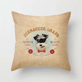 Schnauzer Brand Cigars Throw Pillow