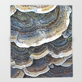 Turkey Tail Fungi Throw Blanket