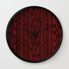 Cardinal Red Cable Knit Wall Clock