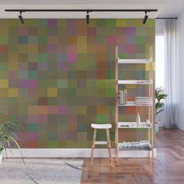 geometric square pixel pattern abstract in green pink yellow Wall Mural