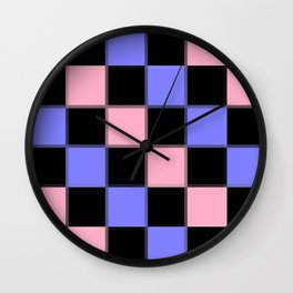 Pink Blue Black CHeckERboarD Wall Clock