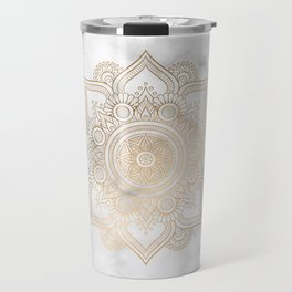 Marble Gold Mandala Design Travel Mug