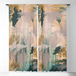 Teal and Gold Abstract- 24K Magic Blackout Curtain