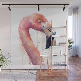 Watercolor Pink Flamingo Illustration | Facing Right Wall Mural