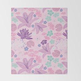 Purple Japanese pond florals Throw Blanket